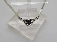 Sterling Silver .925 Oval Amethyst Cabochon Tribal Celtic Knot Bib Necklace