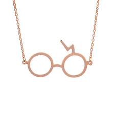 Harry Potter Glasses Necklaces Gypsies Scarring Lightning Necklace Rose gold