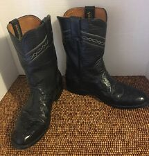 Longhorn Handcrafted Ostrich Black Leather Mens Western Cowboy Boots 8.5 EE