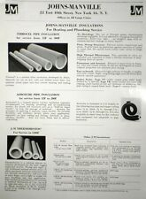 Johns Manville Insulation ASBESTOS Catalog Page Ad