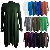 Ladies Womens Polo Neck Long Sleeve Flared Swing Winter Plus Size Dress 8-26