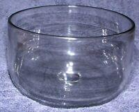 "Swedish Lead Crystal Large Salad Fruit Bowl Smoky Clear Hand Blown MCM 1960s 8"""