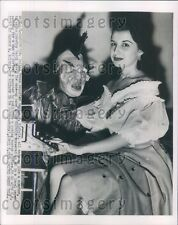 1954 United Press Reporter Made up Like Monster With Pretty Woman Press Photo