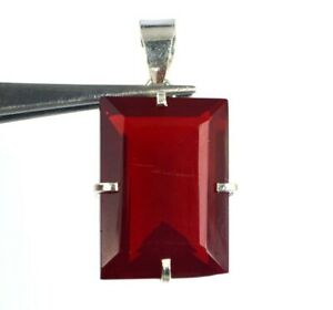 925 Sterling Silver Pendant Red Topaz Emerald Cut 54.10 Ct AGI Certified H7672
