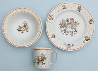 1980s Vtg Mary Engelbreit Horchow Child China Dish Set Duck Plate Bowl Cup New