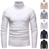 Mens Casual Slim Fit Turtleneck Sweater Warm Long Sleeve Tops Knitwear Pullover