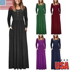 Women Plain Long Sleeve Maxi Dress Ladies Casual Slim Fit Buttons Long Dress USA