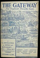 The Gateway New England's Friendly Guide Nov 12, 1936/Published By Hotel Service