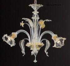 Lampadario In Vetro di Murano - 1005/3 Cristallo Oro - Montatura Oro 24k