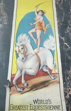 """Original Old Circus Poster """"World's Greatest Equestrienne""""  rare Erie Litho"""