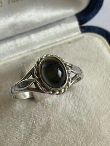 Vintage Sterling Silver & Dark Green Tourmaline Solitaire Dress Ring Size R 1/2