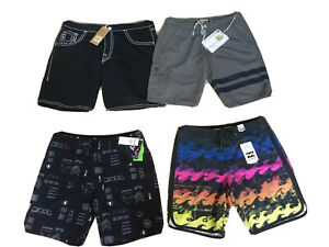 NWT Mens TRUE RELIGION, QUICKSILVER or BILLABONG Unlined Swim Shorts/Boardshorts