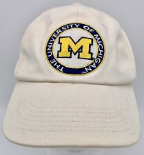 Vintage U of M Michigan University Baseball Golf Hat Cap Adjustable White