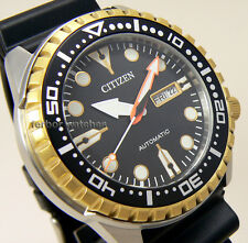 CITIZEN MEN AUTOMATIC TWO TONE SPORT BEZEL RUBBER BAND DAY DATE 100m NH8384-14E