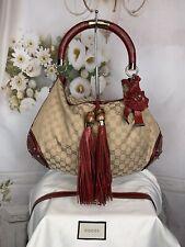 Gucci GG Canvas Crimson Python Trim Unicef Indy Bag Authentic Rare Unique $3995