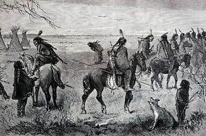 Indians on Warpath 1873 YOUNG BUCKS TEEPEES BOWS ARROWS Indian War  Matted Print