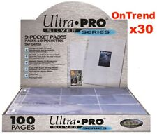 ULTRA PRO SILVER 9 POCKET AFL POKEMON MTG TRADING CARD SLEEVES x 30 PAGES