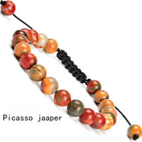 Handmade 8mm natural Picasso Jaaper gemstone beads adjustable bracelet