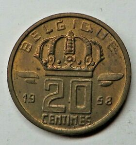 Belgium 20 Centimes 1958 Bronze KM#146 UNC