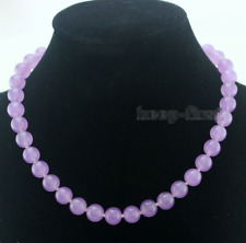 "Fashion 12mm Natural Lavender Jade Round Gemstone Beads Necklace 18"" AAA"