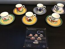 Wedgwood Cafe Chic Art Deco 1999 6 x Cup and Saucer *Limited Edition*