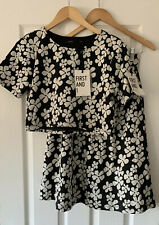 FIRST & I ASOS BLACK FLORAL TOP MIDI SKIRT M L NEW CO ORD TWO PIECE MEDIUM LARGE