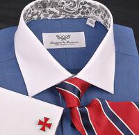 Navy Blue Contrast White Collar Spread Collar Dress Shirt Formal Business B2B GQ