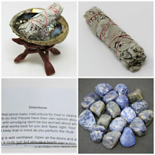 Smudge Kit Third Eye Chakra: Abalone Shell Stand White Sage Sodalite Crystal