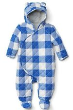 Baby Gap Boy Gingham Quilt Footed One Piece Bunting Coat Blue White 6-12 Months
