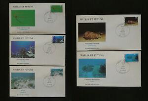 marine life set of 5 FDC Wallis & Futuna 1981