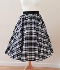 1950s Circle Skirt Black Tartan Check All Sizes - Rockabilly Vintage 40s Dress