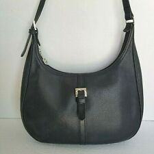 Vintage Longchamp Pebbled Black Leather Hobo Shoulder Bag