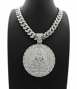 """2PAC EUPHANASIA PENDANT 24"""" SILVER ICED DIAMOND CUBAN LINK CHAIN NECKLACE HIPHOP"""