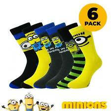 8f65a24d3 6 PAIRS Mens Novelty Despicable Me Minions Socks Father s Day UK 6-11  Licensed