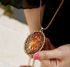 Vintage Classic Amber Hollow Long chain Sweater Pendant Necklace Fashion Jewelry