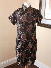 Black Floral Chinese Kimono Dress Size M Mandarin Collar Oriental Boho Gold