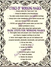 Ethics of Magick & Basic Steps for Magick Spells for Wicca Book of Shadows 1pg