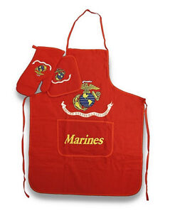 USMC Marine Corps Marines BBQ Barbeque Apron Set (Red)