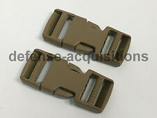SET OF 2 Side Release Side Squeeze Dual Adjust Buckle 1 INCH - TAN