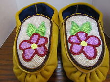 AUTHENTIC NATIVE AMERICAN MOCCASINS- WITH A MULTICOLOUR FLOWER BEADED DESIGN