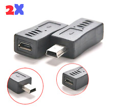 2x Micro USB Female to Mini USB Male Adapter Charger Converter Adaptor