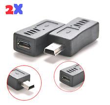 2x Micro USB Hembra A Mini USB Macho Cargador Adaptador Convertidor Adaptador