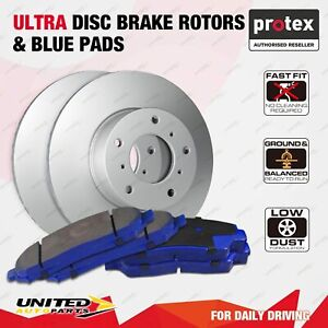 Front Vented Ultra Disc Brake Rotors + Blue Pads for Ford Fiesta WT 2010 - On