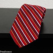 ROBERT TALBOTT Best Of Class Red Burgundy Gold Bule Multi Striped Silk Tie