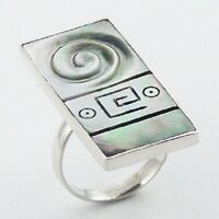 Silver ring 925 sterling handmade Green Shell stylish ring size adjustable trend