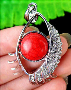 45x26x7mm Alloy Inlay Red Turquoise Eye Pendant Bead BT92959