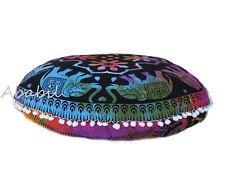"26"" Elephant Mandala Cushion Cover Meditation Tie & dye Round Floor Pillow Cover"