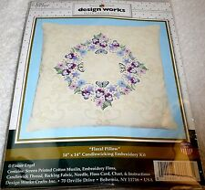 """Design Works Candlewicking Embroidery Kit Floral Pillow 14"""" x 14"""" Item #E103"""