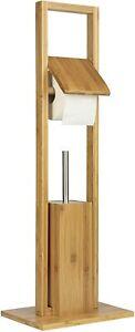 ONVAYA® WC-Garnitur Bambus   Natur   Toilettenpapierhalter stehend   ohne Bohren
