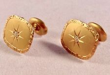 14K VINTAGE CUFFLINKS / BUTTONS WITH DIAMONDS - 4.4 GRAMS